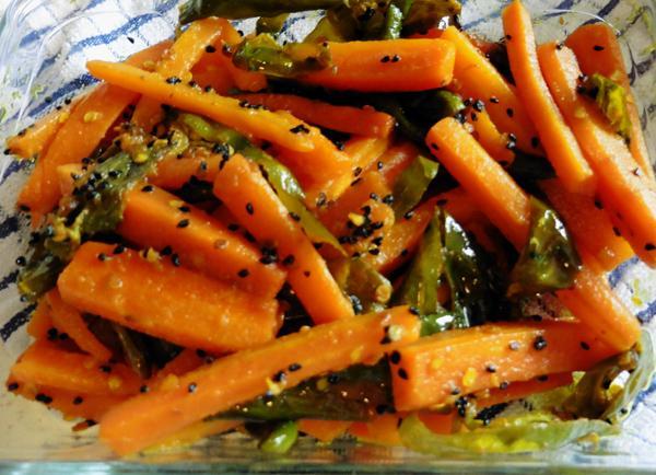 Mamta's Kitchen » Carrot And Green Chilli Launji (Bhaji/Sabji), Hot!