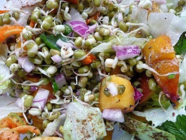 Mung Bean Sprouts Salad 3 with Peaches or Other Fruits