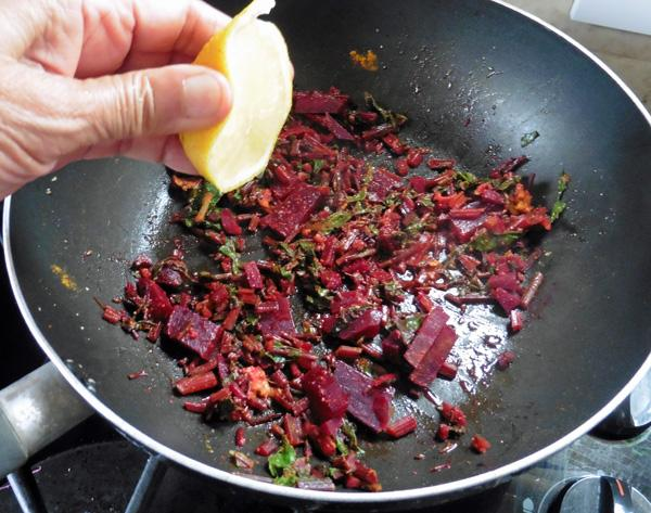 Beetroot, Leaves and Stalks Bhaji (Dry Curry)