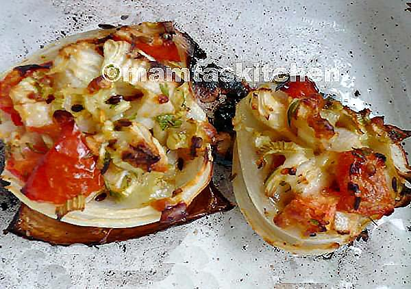 Onions Stuffed with Cheese & Tomatoes